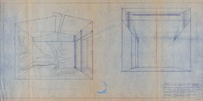 レーモンド設計事務所「浴槽デザインスケッチ/BATH-ROOM PERSPECTIVES」(1962年)、岡本太郎記念館蔵。