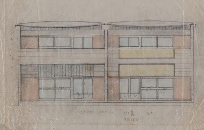 坂倉準三建築研究所「岡本太郎邸 立面図」(1954年)、岡本太郎記念館蔵。