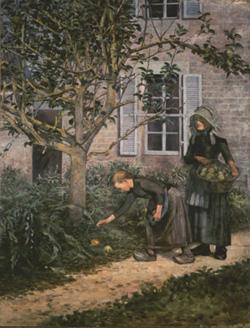 久米桂一郎 《林檎拾い》 1892(明治25)年 久米美術館蔵
