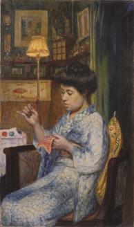岡田三郎助 《縫いとり》 1914(大正3)年 個人蔵
