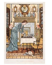 ウォルター・クレイン《奥方の部屋》(『ハウス・ビューティフル』口紙》 1881年、木口木版による多色印刷、25×18cm、スティーヴン・キャロウェイ・コレクション(C)Victoria and Albert Museum, London