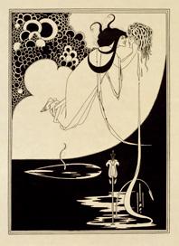 オーブリー・ビアズリー《クライマックス―サロメ》1907年(初版1894年)、ライン・ブロック、網板/日本製のヴェラム紙、34.3×27.3cm、ヴィクトリア・アンド・アルバート博物館(C)Victoria and Albert Museum, London