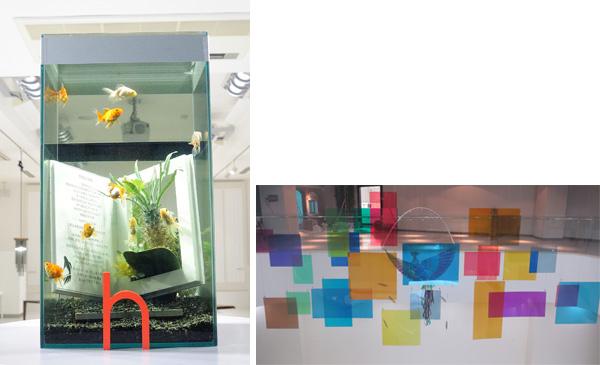 (左)「空飛ぶ金魚」。実際にはない黒い面を水面に見立て、その上(空)を金魚が飛んだり、水面にもぐったりする作品。(右)「日中花鳥風月」。上海での常設展示。色が変化するオブジェ。