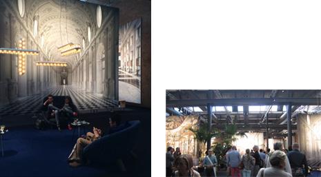左: 座る人々を包み込むローシルエットチェア 右: 会場の様子 天井高が高く、大きな倉庫のようなイメージ
