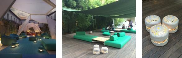 モロッコからインスパイアされたテント。足元には透かしの美しいキャンドルホルダー