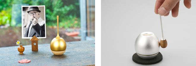 「Cherin(チェリン)」(手を合わせた時に鳴らすおりん。りん棒とのセット) 材質:真鍮・木(サクラ) カラー:金色、銀色、黒色 価格:オープンプライス(実勢価格:1 万円)
