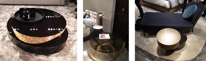 """テーブルの天板や脚、スタンドなど、上品なゴールドが使われたアイテムが多くみられた。 左: コーヒーテーブル""""BENSON"""" 右: """"Astonシェーズロング""""とこちらもコーヒーテーブル""""BENSON"""""""