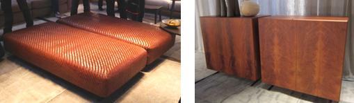 左: レザーへリーンボーン編みのオットマン 右: 高級マホガニー材突板のチェスト