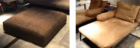 左: スエード生地を編み込んだオットマン 右: ヌバック・レザーのソファ
