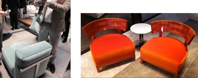 """左: 今年多様されている〝アズールグレー色""""ソファ 右: アームチェア『THOMAS』"""