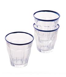 DURALEX GLASSWARE 素材:ガラス 価格:各600円(税抜き) ザ・コンランショップの定番のブルーをリムに施した限定モデル。