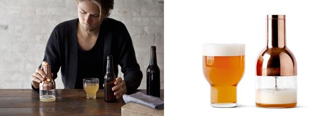 きめ細かくクリーミーなビールの泡をつくりだすことができる画期的なアイテム「ビアフォーマー」。価格:7344円(税込)。「スタッカブルグラス」価格:3024円(税込)