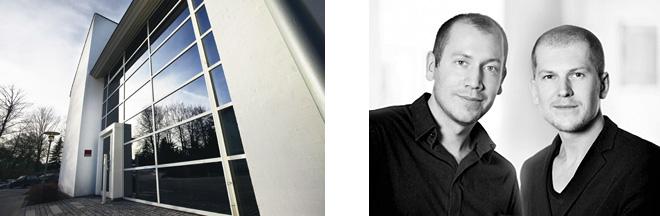 「menu(メニュー)」社の本社(左)。2013年から建築家ユニット「ノーム・アーキテクツ」のヨナス・ペール・ポールセンとキャスパー・ロンのふたりが参画(右)。