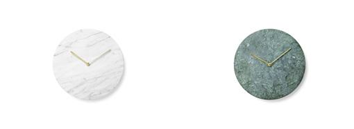 「マーブル・ウォールクロック」のカラーは、ホワイトとグリーンの2色。定価:48600円(税込)