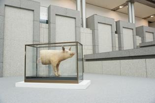 下半身がハムとなった豚のはく製「豚;pig' Lib;」(1994)は吉村益信の作品。