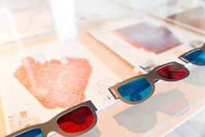 12のコラボレーション 杉浦公平『都市住宅』(1968、1969)。表紙の構図が3Dメガネを使うと立体的に見える。