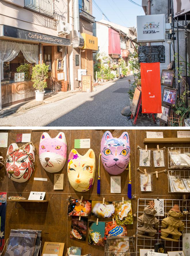 芸工展に参加している目印はオレンジ色の旗がかかったお店。アートスペース谷中ジンジャーでは、土偶や狐面をつくるアートショップを開催中。