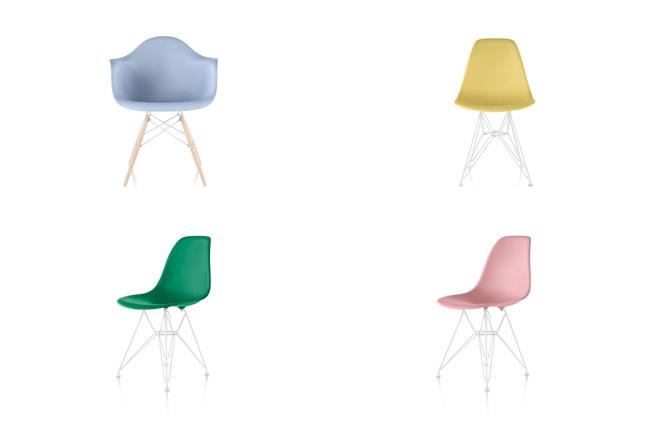 イームズプラスチックシェルチェアのシェルに、パステル調から落ち着いた色合いまで新色9色が加わり、全部で14色から選べる。定価:3万5000円(税抜)~