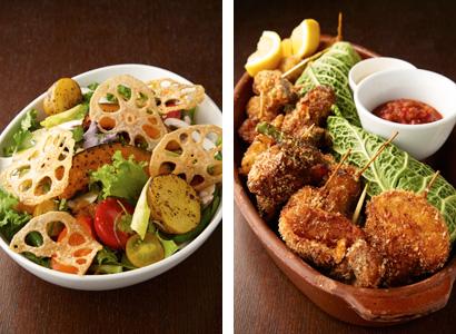(左)農園サラダ1,200円 (右)串揚げ盛り合わせ1,800円 有機人参、さつまいも、カボチャ、紅芯大根、レンコンチップなど根菜 たっぷりの「農園サラダ」。自慢の串揚げが全種類は言った「串揚げ 盛り合わせ」は、「トマトサルサ」と「自家製ヨーグルトソース」2種類のソースで。