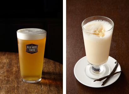 (左)ブルーノート東京ビール700円 (右)ミルクセーキ800円 アルコール度数を抑えた、ゆるゆると飲みた味わいの「ブルーノート東 京ビール」。ホップのコクと香りを感じられる。「ミルクセーキは」どこ か懐かしいほっとする味わい。アルコール以外のドリンクも充実している。