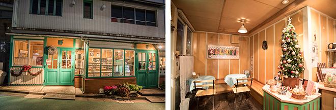 フランスパンの名店が多い神楽坂で、洋菓子みたいなクリームパンが有名な亀井堂さん。残念ながらこの日は売り切れ。5席のイートインスペースもあります(右)。