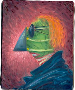 グリーンマン 1999年頃  25.4 x 20.3 cm 油彩・アクリル・キャンバス