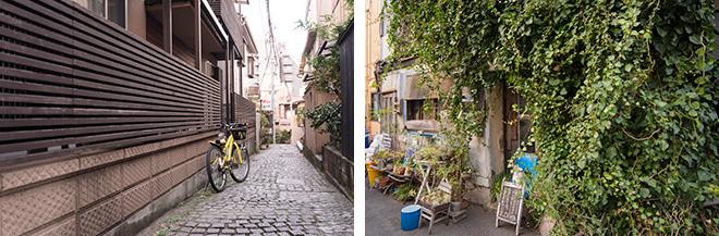 神楽坂の石畳やツタが絡んだ喫茶店。どこかパリのモンマルトルに似ています。