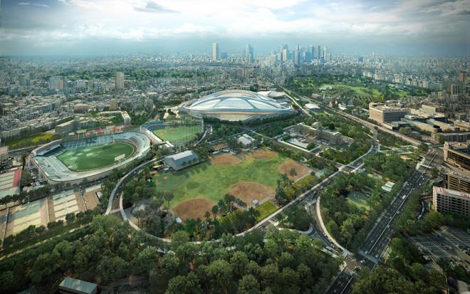 〈新国立競技場〉 東京 2012-(C) Zaha Hadid Architects 2020年の東京オリンピックに向けて最優秀賞を獲得した新国立競技場(東京・神宮外苑)。建築デザイン・コンクールを巡っては、さまざまな議論も巻き起こった。