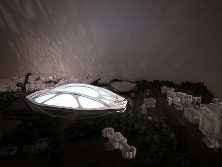 会場には〈新国立競技場〉の模型も展示されている。 (C)Zaha Hadid Architects