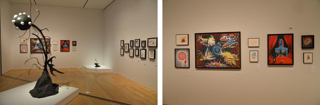 『ティム・バートンの世界』会場風景。年代も体裁も多彩な作品が、テーマ、モチーフ、プロジェクトという軸で切り分けられて展示、その数は約500点にものぼる。